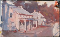 Catskill Roadhouse, East Durham, New York. Casein painting by James Gurney, 5x8 inches.