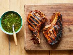 Get Grilled Pork Chops with Roasted Garlic Gremolata Recipe from Food Network Pork Rib Recipes, Garlic Recipes, Grilling Recipes, Cooking Recipes, Grilling Tips, Bbq Pork Ribs, Grilled Pork Chops, Grilled Meat