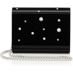 Black Acrylic with Multi Crystals Clutch Bag CANDY ($745) ❤ liked on Polyvore featuring bags, handbags, clutches, lucite purse, acrylic clutches, lucite handbags, acrylic purse and acrylic handbag