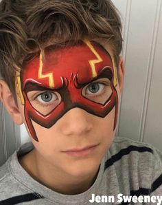 Flash mask Face Painting Images, Face Painting Tips, Face Painting Tutorials, Belly Painting, Face Painting Designs, Paint Designs, Tole Painting, Superhero Face Painting, Face Painting For Boys