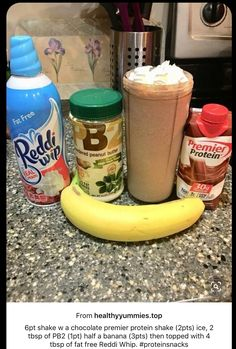 shake w a chocolate premier protein shake ice, 2 tbsp of ha. - shake w a chocolate premier protein shake ice, 2 tbsp of ha… shake w a chocolate premier protein shake ice, 2 tbsp of half a banana then topped with 4 tbsp of fat free Reddi Whip. Weight Watcher Desserts, Weight Watchers Shakes, Weight Watchers Diet, Premier Protein Shakes, Best Protein Shakes, Protein Shake Recipes, Healthy Shakes, Chocolate Protein Shakes, Atkins Protein Shake