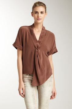 Greylin  Knot Front Short Sleeve Blouse