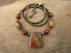 Picasso Jasper Necklace earthy red and orange stone jewelry