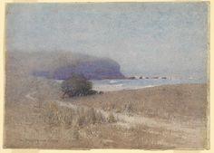 J.W. TRISTRAM, not titled [Headland  J.W. TRISTRAM Sydney, New South Wales, Australia 1872 – 1938  not titled  [Headland]  [(Inlet and headland)] 1921 watercolour image 34.4 h x 37.8 w cm  The Oscar Paul Collection, Gift of Henriette von Dallwitz and of Richard Paul in honour of his father 1965. Accession No: NGA 65.86