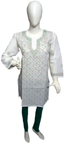 Self Design Lucknowi Chikan Kurti List price: Rs1099   Rs445 You save: Rs654 (60%)  Specifications . Fabric: 100% Cotton . Self Design Chikankari . Sleeves : Full . Color: White
