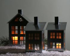 Tin house candle holders. Charming pieces by DesignAtelierArticle (etsy)