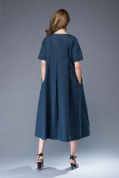 """LAGENLOOK WOMENS LINEN PLAIN BALLOON LONG DRESS**BEIGE**BUST UP TO 46/"""" ITALIAN"""