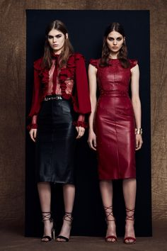 Zuhair Murad Pre-Fall 2018: Fierce meets feminine! Fierce and edgy red leather dress with feminine lace detail!