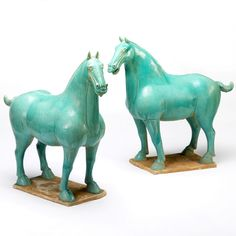 Chinese ceramic Tang horse in turquoise glaze. These wonderful ceramic horses in a beautiful turquoise glaze are replicas of horses produces during China's Tang Dynasty. Along with figurines of camels and other animals, as well as of servants and civil officials, pottery horses like these were produced specifically to be buried with the wealthier members of society. TThese reproduction horses stand at over half a metre high, broad shouldered and muscular. #ChineseTangHorse #TangHorse