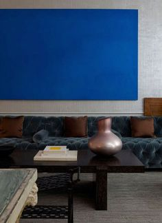 ♂ Masculine interior design with bold blue colors