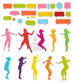 Girls, kids jumping vector silhouette set background Stock Photo