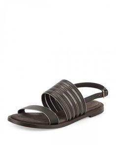Brunello+Cucinelli+Monili+Trim+Leather+Flat+Sandals+Black+Women's+37+5b+7+5b+ +Shoes+and+Footwear