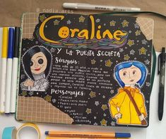 Bullet Journal Lettering Ideas, Bullet Journal Books, Bullet Journal School, Bullet Journal Ideas Pages, Bullet Journal Inspiration, Art Journal Pages, Pretty Notes, Cute Notes, Coraline