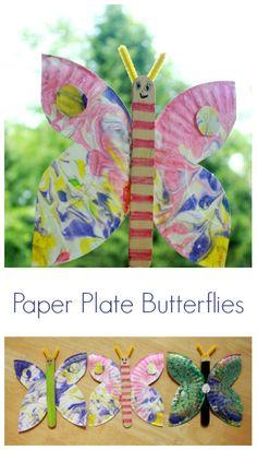 Marbled Paper Plate Butterflies http://artfulparent.com/2014/07/marbled-paper-plate-butterfly-craft.html
