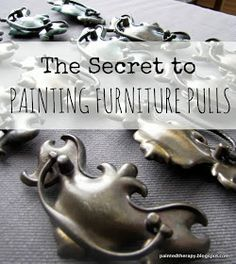 DIY: The Secret To Painting Furniture Pulls - clever & easy way to get a smooth paint finish. DIY: The Secret To Painting Furniture Pulls - clever & easy way to get a smooth paint finish. Diy Furniture Hardware, Dresser Hardware, Diy Furniture Projects, Refurbished Furniture, Paint Furniture, Furniture Makeover, Kitchen Furniture, Furniture Refinishing, Cabinet Hardware