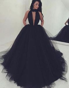 black Prom Dress, long Prom Dress, tulle Prom Dress, A-line prom dress, BD2374