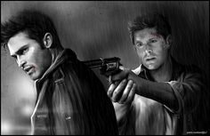 Fan art. I love this - Dean Winchester and Derek Hale. (Jensen Ackles and Tyler Hoechlin)