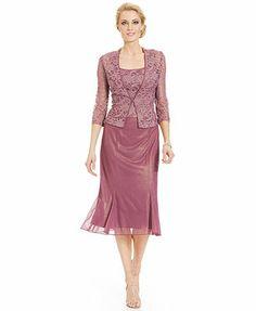 Alex Evenings Sleeveless Lace Tea-Length Dress and Jacket