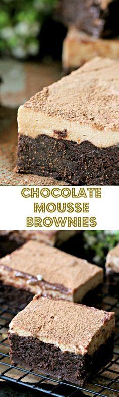 Chocolate Mousse Brownies or Best Brownies EVER! - Peas and Peonies #brownierecipe #chooolate #foodporn #mousse