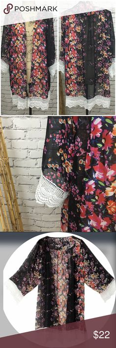 "🆕Black Floral Kimono with Lace Trim Black Floral Kimono with Lace Trim  🌸 Material: Chiffon 🌸 Bust: 35.5""- 36.5""       Length: 37 1/2"" Beach Wave Tops"
