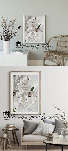 White Peonies, White Flowers, Nursery Decor, Wall Decor, Kitchen Wall Art, Quote Prints, Community Art, Country Decor, Decorative Items