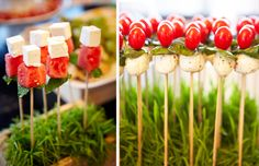 More food disguised as flowers:  watermelon and feta cubes on the left and caprese kabobs on the right.