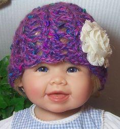 Crochet Baby Hat Photo Prop Purple Bright by AdorababyCrochet, $12.00