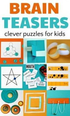 Brain teasers and puzzles for kids enhance math skills. Math Games, Learning Activities, Activities For Kids, Elderly Activities, Dementia Activities, Logic Games For Kids, Physical Activities, Preschool Activities, Brain Teasers For Kids