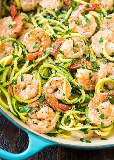 Healthy Shrimp Scampi with Zucchini Noodles. A skinny version of the classic recipe that's easy, low carb, and full of flavor! Made with garlic, lemon, and red pepper flake for a Healthy Dinner Ideas for Delicious Night & Get A Health Deep Sleep Spiralizer Recipes, Pasta Recipes, Low Carb Recipes, Diet Recipes, Cooking Recipes, Spaghetti Recipes, Zucchini Spaghetti, Shrimp With Zucchini Noodles, Healthy Shrimp Recipes