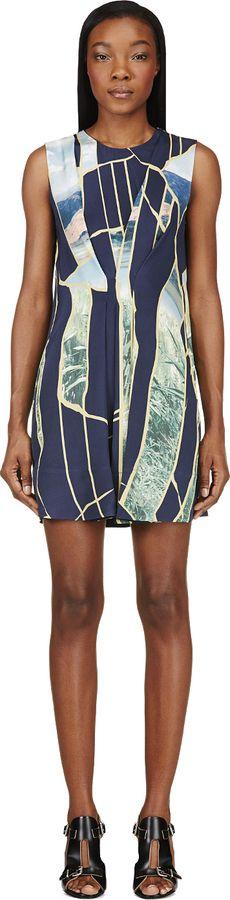 348 3.1 Phillip Lim Navy & Green Silk Breakthrough Moments Dress on shopstyle.com