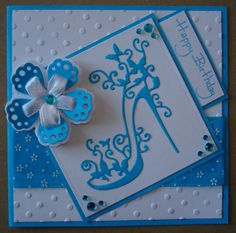 Hand made birthday card using tattered lace shoe die and ribbon flower die