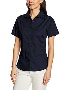 Premier Workwear Women's Ladies Short Sleeve Poplin Blouse, Blue (Navy), 14.