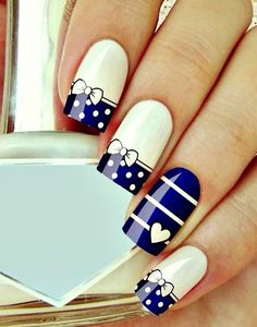 Navy Blue and White Nails With Polka Dots and Stripes