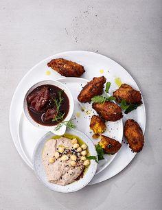 Rezept:   Kürbis-Falafeln mit Datteln und Hummus