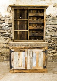 Saloon Style Rustic Wine Rack And Liquor Cabinet