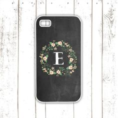 Chalkboard iPhone Case with Floral Wreath