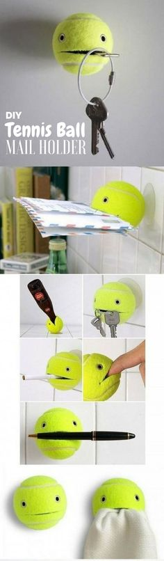 Check out how to make this easy DIY Tennis Ball Mail Holder @istandarddesign