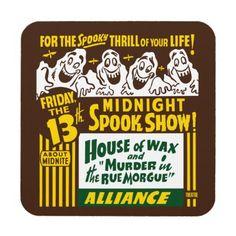 ヴィンテージの幽霊ショーポスター芸術- 6つのコースターのセット