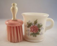 Hazel Atlas Opal Rose painted shaving mug with brush - flare opening, rim foot and loop handle by Shafada on Etsy.com