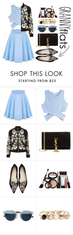 """Cute Trend: Granny Flats"" by zulfastley on Polyvore featuring Jonathan Simkhai, Needle & Thread, Yves Saint Laurent, Sophia Webster, Laura Geller, Christian Dior, GUESS, flats and grannyflats"