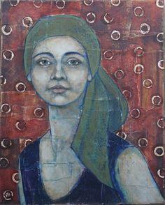 Portrait of Woman In Green Scarf | Jane Spakowsky (DesRosier)