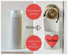 """Turn an empty shampoo bottle into a Valentine's Day """"mailbox"""" #recycle #valentines #valentinesday #valentine #reuse #repurpose #upcycle #bottlecrafts #crafts #valentinesdaycrafts"""
