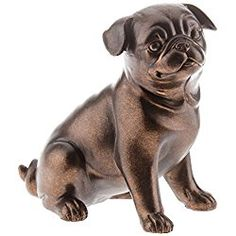 Pug Figurine Copper Brown Pug Dog Resin Figurine Table Top Piece Paperweight