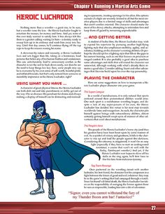 Page 1 of the Heroic Luchador archetype from Metahuman Martial Arts 3e
