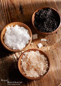 Finishing Salts: Kilauea Black Sea Salt, Cyprus Pyramid Flake Sea Salt, Australian Pink Salt