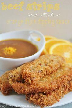 Beef Strips with Orange-Dijon Dipping Sauce