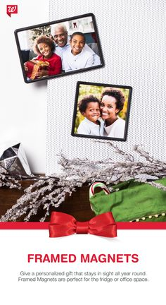 Create Framed Magnets with favorite photos for super-cute personalized gifts!