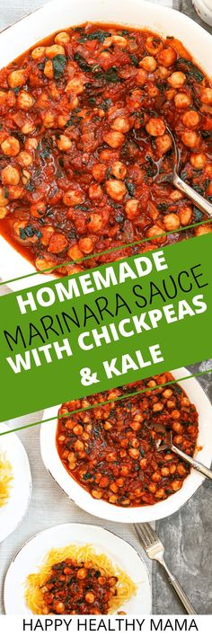 This Marinara Sauce with Chickpeas and Kale is so good! A great way to boost your spaghetti sauce with extra protein, fiber, and nutrients! Super easy to make and very comforting!