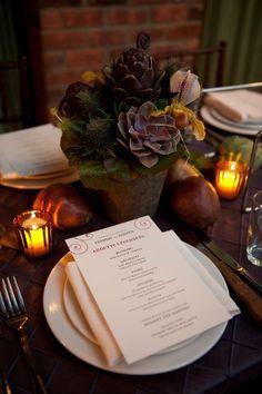 Succulents : Inspiration for table centerpiece content.