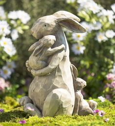 If this Momma and Baby Bunnies Garden Statue doesn't warm your heart, we don't know what will! This sweet family of rabbits has a woodcut look wit… - All For Garden Rabbit Garden, Rabbit Art, Dog Garden, Statue Art, Illustration Photo, Rabbit Sculpture, Bunny Art, Animal Statues, Baby Bunnies